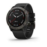 Мультиспортивные часы Garmin Fenix 6X Sapphire с GPS, серые с черным ремешком (010-02157-11)