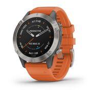 Мультиспортивные часы Garmin Fenix 6 Sapphire с GPS, титановый с оранжевым ремешком (010-02158-14)