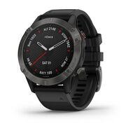 Мультиспортивные часы Garmin Fenix 6 Sapphire с GPS, серые с черным ремешком (010-02158-11)