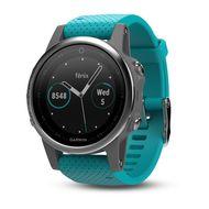 Мультиспортивные часы Garmin Fenix 5S с GPS, серебристые с бирюзовым ремешком (010-01685-01)