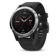 Мультиспортивные часы Garmin Fenix 5 с GPS, Glass, серебристые с черным ремешком (010-01688-03)