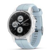 Мультиспортивные часы Garmin Fenix 5S PLUS Glass серебр./черн. с голуб. ремешком (010-01987-23)