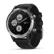 Мультиспортивные часы Garmin Fenix 5 PLUS Glass серебристые с черным ремешком (010-01988-11)