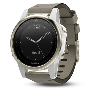 Мультиспортивные часы Garmin Fenix 5S Sapphire с GPS, шампань с серым ремешком (010-01685-13) #1